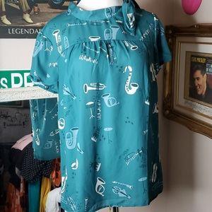 Modcloth Music blouse Size L